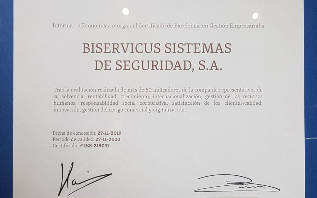 Biservicus reconocido con el certificado en Excelencia en Gestion Empresarial